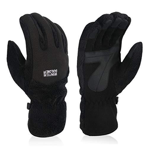 Loryloly guanti termici touch screen per uomo e donna, tessuto di lana guanti da neve per adulto, antiscivolo leggero caldo antivento, per sciare pattinando snowboard e altri sport invernali