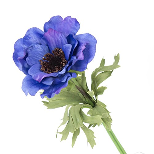 artplants Set 12 x Künstliche Anemone, dunkelblau, 35 cm, Ø 9 cm – Kunstblume/Dekoblume