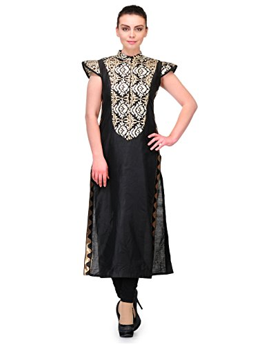 Cenizas Women's Raw Silk Kurta (KURTIS/9060/BLK/L_Black_L)