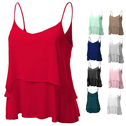 Clearance Women T-Shirts OverDose Sexy Sleeveless Halterneck Tank Double Layer Crop Tops Vest Blouse T-Shirt