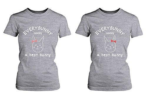 """Bonitas camisetas con texto en inglés """"Everybunny Needs a Best Bunny BFF a juego"""" -  Gris -  izquierda-Large/derecho-Medium"""