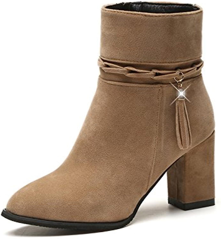 Botines de ante con flecos Martin con zapatos de moda con cremallera lateral gruesa, Camel, 37 EU