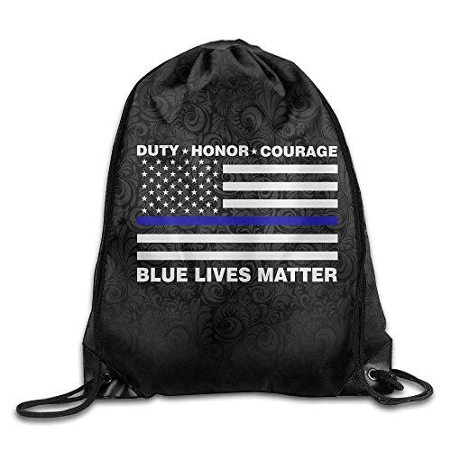 lice Blue Line Us Flag Training Gym Drawstring Backpack Sack Bag ()