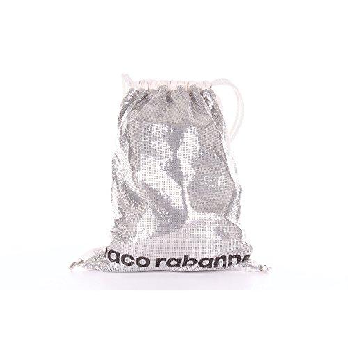PACO RABANNE 16A1502AD1MESSI Rucksack Damen Silber und Weiß