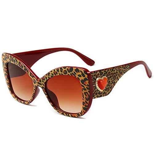 DAIYSNAFDN Vintage Cat Eye Sonnenbrille Frauen Leopard Frame Charm rotes Herz Retro Sonnenbrille No.5