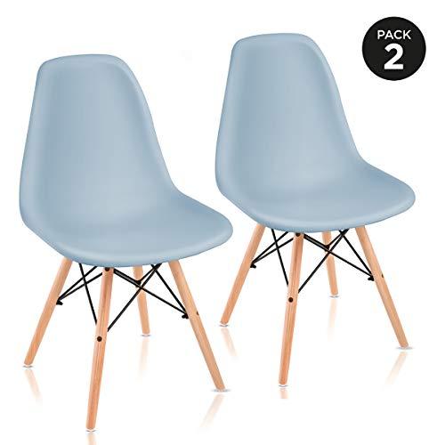 Mc Haus Azul Claro Pack de Sillas de Comedor de Diseño Nórdico, Haya y Polipropileno, 51x46x82 cm, 2...