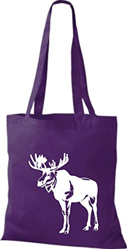 Shirtstown Pochette en tissu Animaux élan, Elk, karibus Violet - Violet