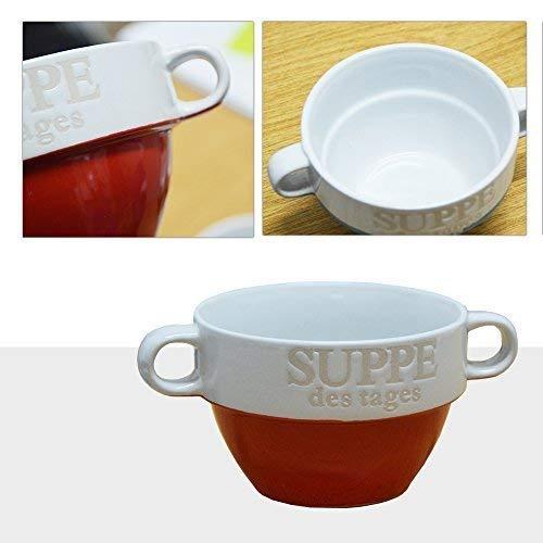 DRULINE 6er Set Suppentassen Suppentasse Suppenterrine aus Keramik Rot 8 cm Ø 13 cm Soup Bowl