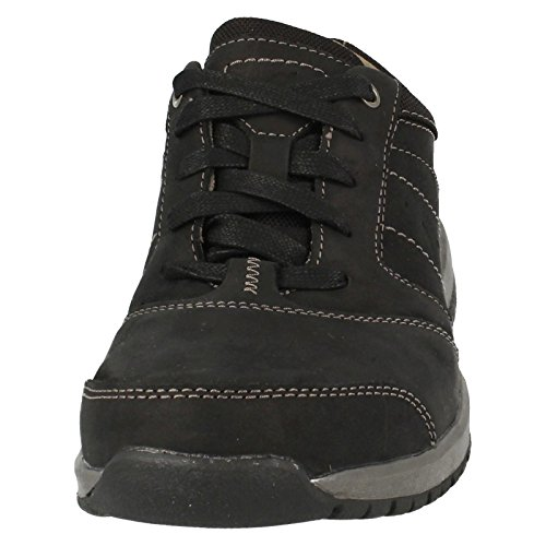 Clarks Ryley Street Leather Shoes In Black Combi Standard Fit Size 10
