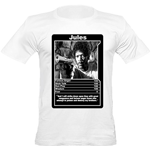 Urban Shaolin Men's Pulp Fiction path of the righteous man Jules Winnifield Inspired Fitted T Shirt, White