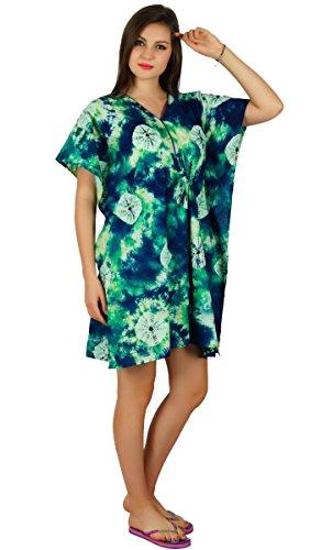Bimba court caftan de coton caftan imprimé beachwear coverup confort vêtements Bleu