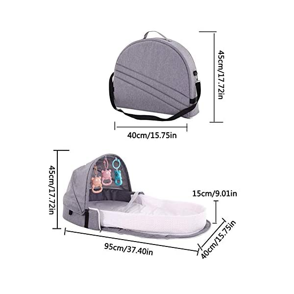 Knowled Portable Baby Crib Baby Bionic Bed Travel Cradle Foldable Crib With Washable Removable Mosquito Net, Baby Nest 100 Cotton Breathable And Hypoallergenic For Bedroom Travel Camping Knowled Folding and Multi-functional: It can be used not only as a baby cot but also as a baby diaper bag. The folding design turns it into a backpack in seconds. Large internal storage space frees hands during travel. Convenient to Use: It comes with a bed bell to keep your baby playing. The extra interior space makes it a replacement for diaper bags. This perfect practical solution makes it easier and more relaxing for moms to travel with their baby. Waterproof and Easy to Clean: The cradle's mat is waterproof and the entire detachable lining is machine washable. The inclusion of a mosquito net can effectively interfere with all kinds of mosquito dust and can be used all year round. 5
