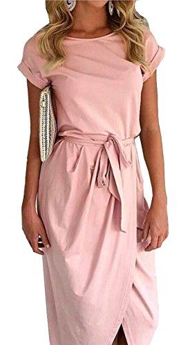 Longwu Deman Frauen Casual Beach Club Maxi Kleider Sommer Party Lange Kleid-Rosa-M (Rosa Frottee-kleid)