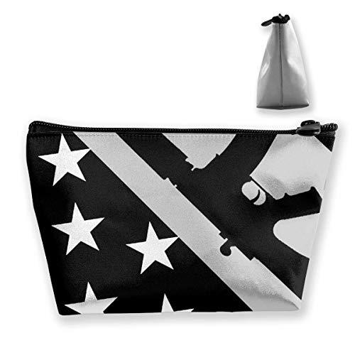 Gun USA Flagge Schwarz Federmäppchen Tasche Reißverschlusstasche Münztüte Make-up Tasche Aufbewahrungstaschen