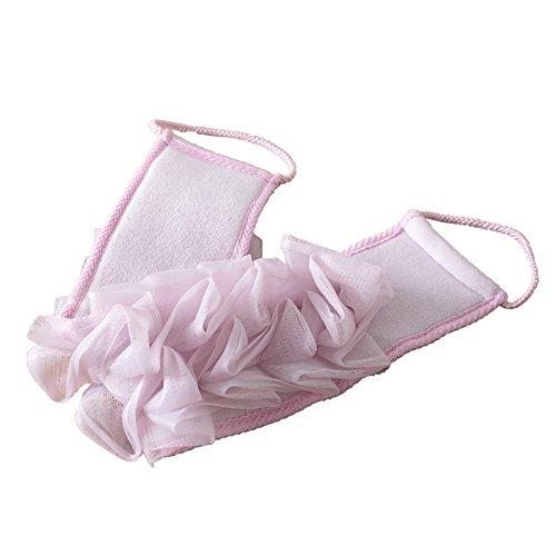 Vanra Exfoliant Dos Sangle Loofah Massage Dos en maille Scrub bouffées de bain Massage éponge avec poignées en corde pour douche baignoire SPA, pour le corps 58,4 cm x 9,4 cm polyester mélangé violet