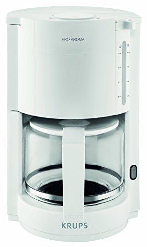 Krups F30901 ProAroma Glas-Kaffeemaschine, 10 Tassen, 1.050 W im modernen Design, weiß - Deckel Metall-krug Mit