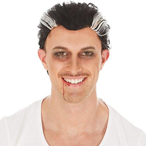 Perücke schwarz mit grau | Kurzhaar | Vampir Graf Dracula Halloween (Jungen Rockstar Kostüm Ideen)