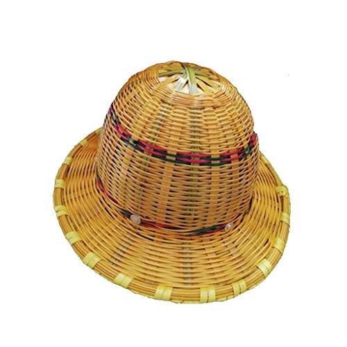 Bamboo Schutzhelm, Atmungsaktiv kühlend, cool und umweltfreundlich Bambus Rattan Hut (Farbe : A)