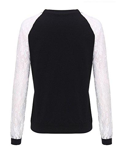 ZANZEA Damen Rückenfrei Langarm T-Shirts Oberteil Tunika Spitze Hemd Bluse Tops Schwarz#