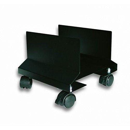 Supporto carrello porta computer pc case atx acciaio regolabile con ruote (nero)