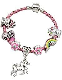 Jewellery Hut Girl's Pink Leather Unicorn Birthday Charm Bracelet with Gift Box and Unicorn Insert