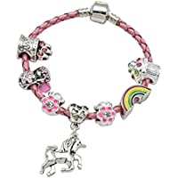 Girl's Pink Leather Unicorn Birthday Charm Bracelet with Gift Box and Unicorn Insert