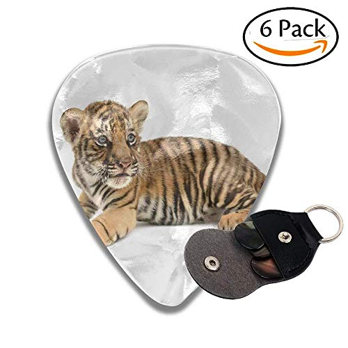 Baby Bengal Tiger Isolated On White Background Colorful Celluloid Guitar Picks Plectrums For Guitar Bass .6 Pack 96mm