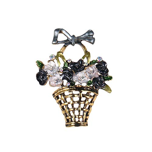 ZWLZQ Broschen Brosche Emaille Korb Mit Blumen Brosche Pflanzen Bouquet Modeschmuck Bunte Brosche Für Frauen Schwarz (Für Freund Halloween-körbe)