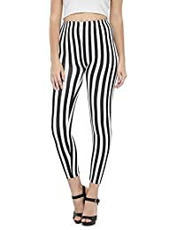 N-Gal Women's Monochrome Hounds Tooth Adult Leggings-NJ2365-Black-White