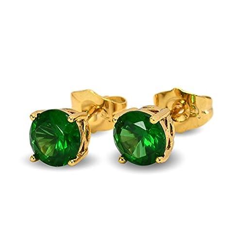 Club–Bleu Diamant simulé vert émeraude 7mm Boucles d'oreilles clous épais plaqué or 18ct pour femme 18K