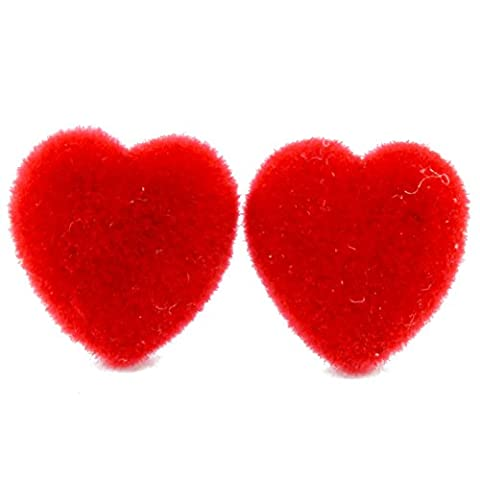 TFB - FUNKY RED VELVET LOVE HEART STUD EARRINGS - GIFT BOX AVAILABLE
