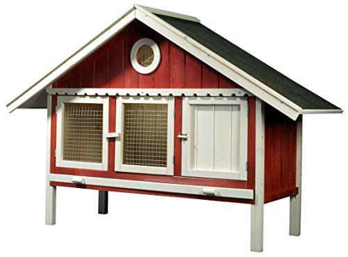 dobar 23030 Großer Kleintierstall XXL für draußen als Design-Schwedenhaus, mit drei Fronttüren und Ruheraum, 170 x 56 x 115 cm, rot/weiß