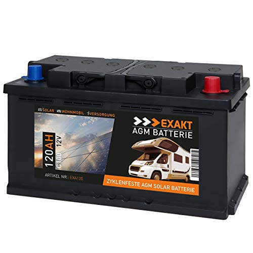EXAKT AGM Solar Batterie Photovoltaik Wohnmobil Boot Camping Versorgungsbatterie (120AH 12V)