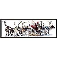 iTemer 1 Pieza Tema de Navidad Elk Santa Decoración Sticker Dormitorio Living Room Decoration Sticker Decoración de Navidad 30cm*90cm
