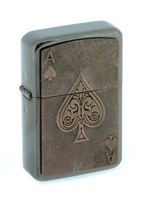 Star Black Ice Feuerzeug mit einem englischen Zinn Emblem, ACE vof SPADES (Black Eis Finish), Exklusiv zu AJF, personalisiert graviert kostenlos