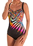 Dokotoo Maillot de Bain 1 Pièce Femme Amincissant Bandeau Silm String Bikini Dos Nu Sexy Push Up Sportif Col V Multicolore Tankini Swimwear Triangle Eté New 2019 (S-XL)