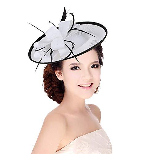 TBATM Women Fascinator Hat, Girls Flower Mesh Hat Bridal Headdress for Cocktail Wedding Tea Party Banquet Cocktail Church,White
