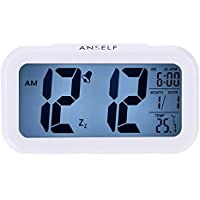 LED Digital Alarma despertador,Anself Reloj Repeticion activada por luz Snooze Sensor de luz Tiempo Fecha Temperatura (Blanco puro)