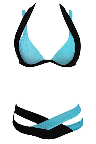 Arrowhunt Damen Mädchen Schwarz und Weiß Zweiteilige Neckholder Push Up Bikini Set Blau