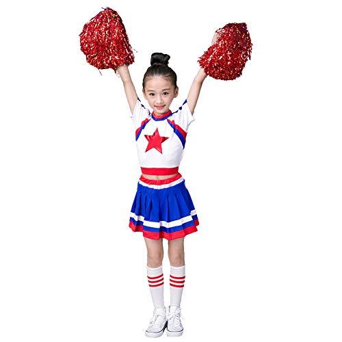 LOLANTA 4 stücke Mädchen Blau Cheerleader Uniform Schulmannschaftskostüm Befestigen Poms & Socken