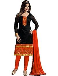 Snapdeal Women's Chanderi Black Color Salwar Suit Dupatta Unstitched Dress Material Fabric (CHANDERI_BLACK_1)
