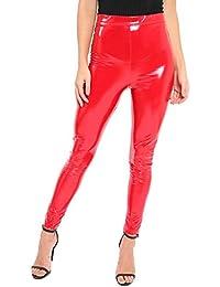 d6354a017b8 Ladies Latex Vinyl Shiny Leggings PVC PU High Waisted Stretch Wet Look  Disco Womens Sexy Trousers