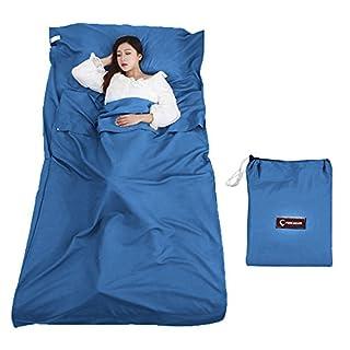 Queta Hüttenschlafsack Schlafsack Reiseschlafsack mit Tragetasche Ideal für Innen Hostels Berghütten Jugendherbergen Camping Outdooraktivitäte usw. (Geheimnisvoll Blau)