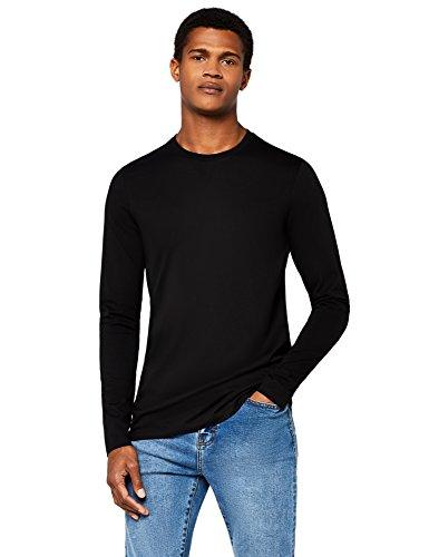 Meraki maglia girocollo in cotone a manica lunga slim fit uomo, nero (black), medium