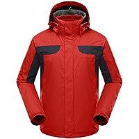 Tri-polar giubbotto uomo,Outdoor 3 in 1 Sportswear giacche termiche montagna traspirante impermeabile giacca antivento giubbini sci uomo giacca snowboard, rosso, L