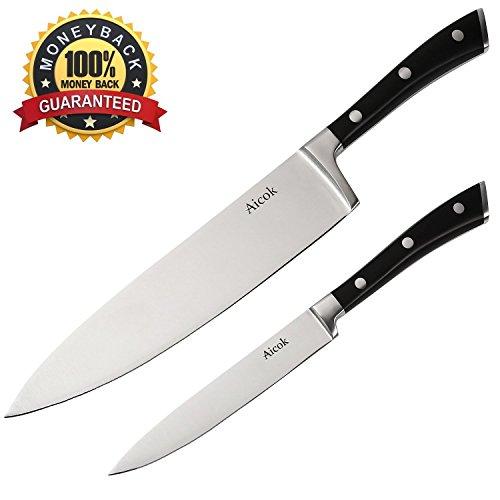 Aicok Cuchillos de Cocinero, Dos Piezas de Cuchillos Ergonómicos de Acero Inoxidable de 20 y 13 cms