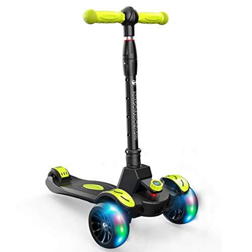 ZAQI Kick Scooter for Kinder Riesenräder, 4 höhenverstellbare, lenkbare Räder mit PU-Beleuchtung for Kinder von 2 bis 16 Jahren, Tragkraft 80 kg (Color : Yellow) (Kleine Mädchen, Die Elektro-roller)