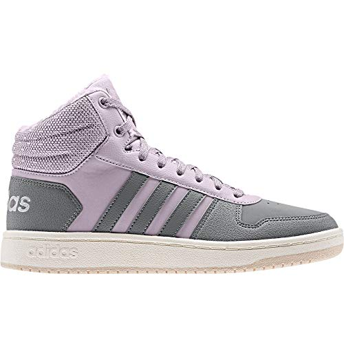 adidas Damen Hoops 2.0 Mid Basketballschuhe, Violett (Mauve/Grey Three F17/Matte Silver), 40 EU (6.5 UK)