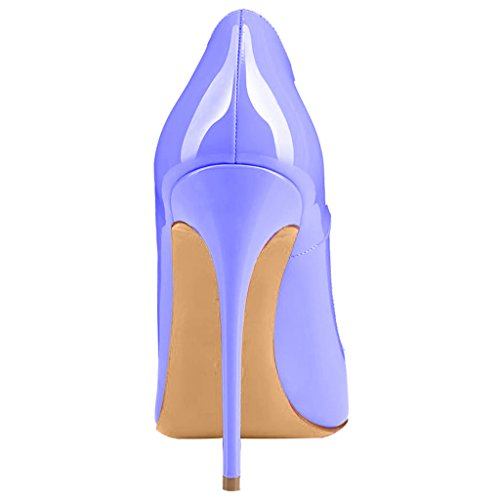 Calaier Ladies Caover 12cm Stiletto Slip On Pumps Scarpe Viola