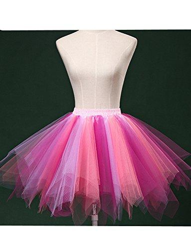 DYSS Damen 1950er Jahre Knielanger Petticoat Vintage Krinoline Tüll Ballett-Blase Tutu Rock Lila + Rose